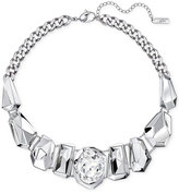 Swarovski Silver-Tone Oval Crystal and Metallic Statement Necklace