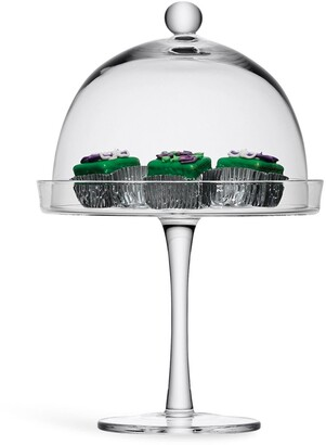 LSA International Vienna glass cake stand and cover