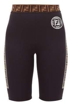 Fendi Ff Logo-stripe Cycling Shorts - Womens - Black