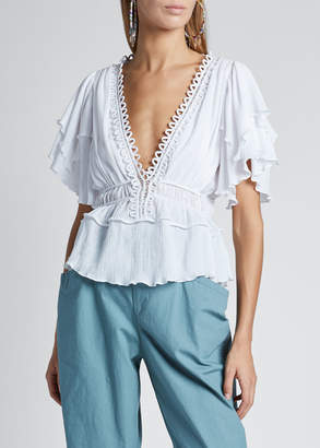 Isabel Marant Cotton Ruffle Short-Sleeve Deep V-Neck Drawstring Top