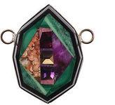 Designer Multicolor Malachite Citrine Garnet Sugalite Necklace Enhancer Pendant