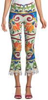 Dolce & Gabbana Maiolica-Print Cropped Pant w/ Crochet Cuff Detail