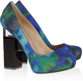 for Erdem Geometric-heel printed silk-covered leather pumps