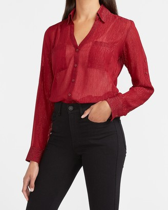 Express Slim Fit Sheer Metallic Striped Portofino Shirt