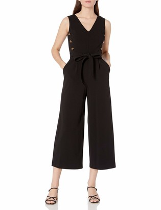 Calvin Klein Women's V-Neck Cropped Jumpsuit with Side Button Bodice