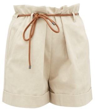 Brunello Cucinelli Paperbag-waist Linen-blend Shorts - Light Beige