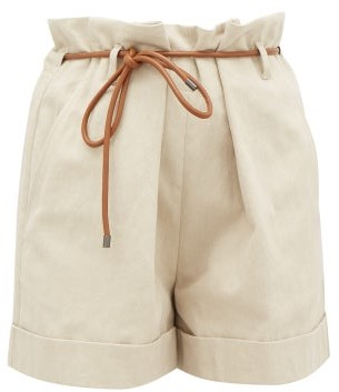 Brunello Cucinelli Paperbag-waist Linen-blend Shorts - Womens - Light Beige