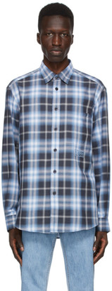 Burberry Navy Check Ombre Embroidered Logo Shirt
