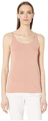 Eileen Fisher Stretch Silk Jersey Scoop Neck Long Cami (Toffee Cream) Women's Clothing