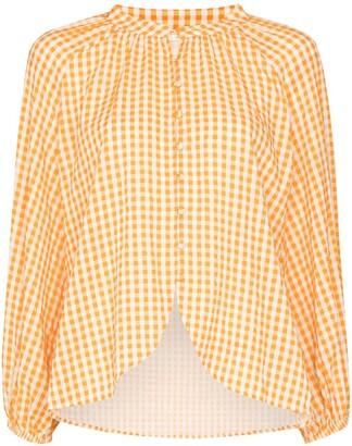 Peony Swimwear Check Print Puff Sleeve Shirt
