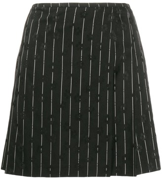 McQ Swallow Pinstripe Floral Embroidered Skirt
