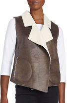 French Connection Nala Sherpa-Lined Faux Leather Vest
