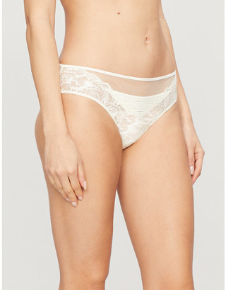 Calvin Klein Spring semi-sheer mid-rise mesh and lace-stretch briefs