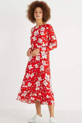 Oliver Bonas Womens Red Floral Midi Dress - Red