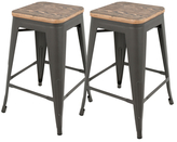 Lumisource Oregon Industrial Stackable Counter Stools (Set of 2)