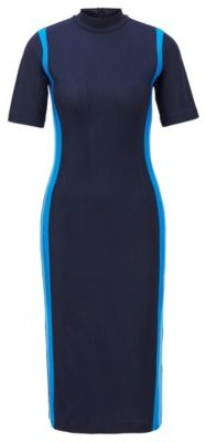 HUGO BOSS Turtleneck Dress With Colorful Stripes And Back Neck Zip - Open Blue