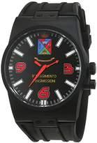 Trias Men's Quartz Watch with Black Dial Analogue Display Quartz Rubber Door 46