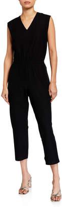 Eileen Fisher Washable Crepe V-Neck Sleeveless Straight-Leg Jumpsuit