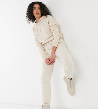 Asos Tall ASOS DESIGN Tall tracksuit hoodie / slim trackies with tie in organic cotton in cream