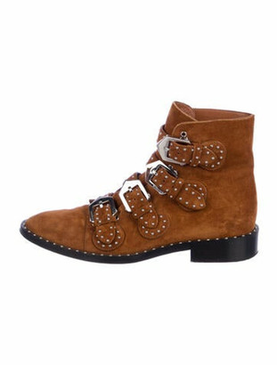 Givenchy Suede Studded Accents Moto Boots Brown