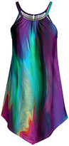 Lily Women's Tunics PRP - Purple & Turquoise Abstract Point-Hem Sleeveless Tunic - Women & Plus