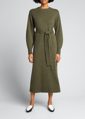 Lafayette 148 New York Cashmere Blouson-Sleeve Belted Dress