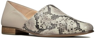 Clarks Pure Tone Leather Flat Shoe - Grey Snake
