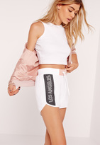 Missguided Graphic Runner Shorts White
