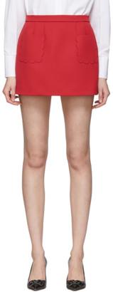 RED Valentino Red Scallop Mini Skirt