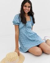 Asos Design DESIGN puff sleeve broderie tea dress