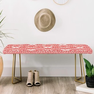 East Urban Home Faux Leather Bench Color/Pattern: Red/Floral