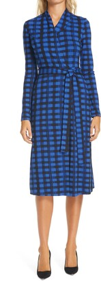 HUGO BOSS Ettay Abstract Check Belted Long Sleeve Dress