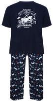 Yours Clothing BadRhino Plus Size Mens Motorbike Printed Loungewear Bottoms Top T Shirt Set