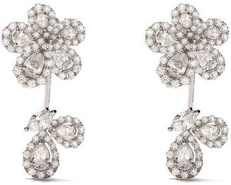 David Morris 18kt white gold Le Jardin small diamond earrings