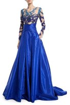 Pamella Roland Pleated Taffeta Evening Ball Gown w/ Crystal Embroidered Bodice