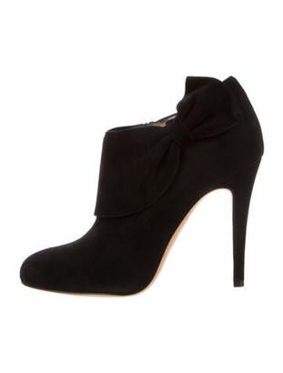 Oscar de la Renta Suede Bow Accents Boots Black