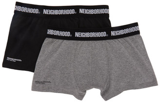 Neighborhood Two-Pack Black and Grey Logo Boxer Briefs