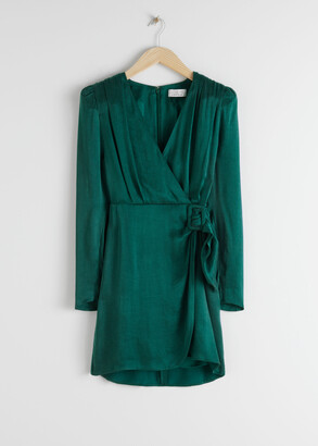 And other stories Satin Buckle Tie Mini Wrap Dress
