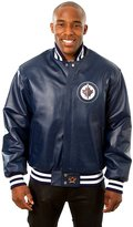 JH Design Winnipeg Jets Men's Leather Team Jacket with Hand Crafted Leather Team Logos