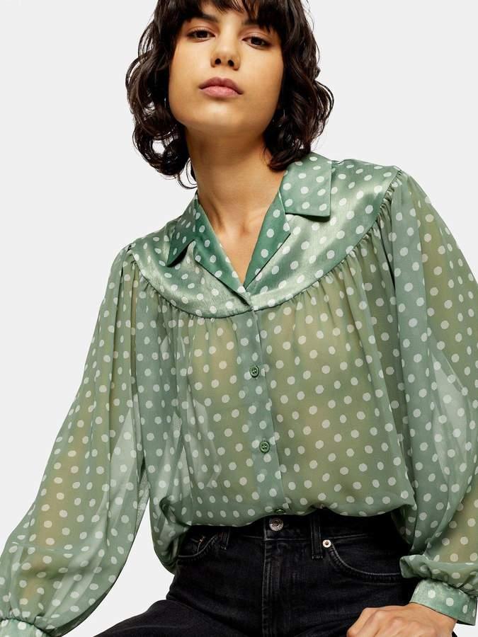Topshop Sheer And Satin Spot Shirt - Green