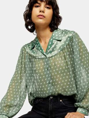 Topshop Sheer And Satin Spot Shirt - Green