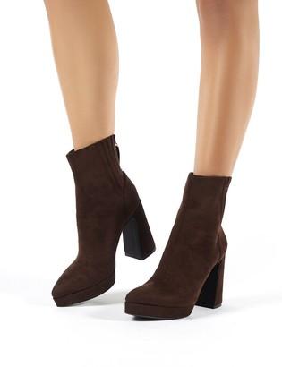 Public Desire Uk Tegan Faux Suede Flare Heeled Ankle Boots
