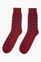 Alexander McQueen Red and navy skull logo socks
