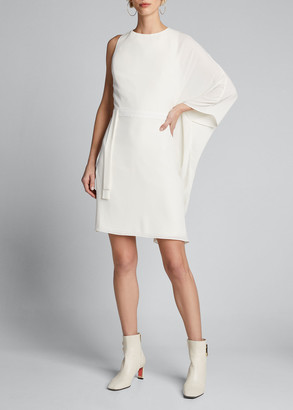 Halston Flowy-Sleeve Asymmetrical Georgette Dress
