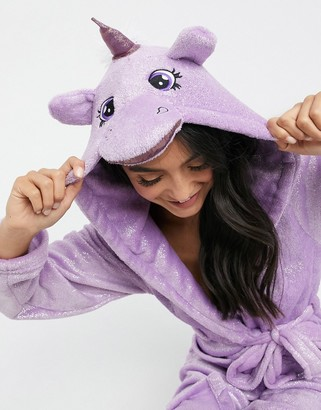 Loungeable unicorn soft robe in pink