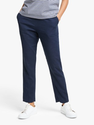Collection Weekend By John Lewis Collection WEEKEND by John Lewis Easy Linen Blend Elasticated Trousers, Navy