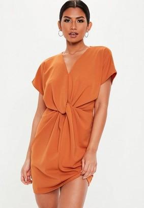 Missguided Orange Knot Front Mini Shift Dress