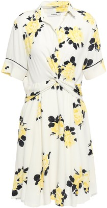 Ganni Silvery Twist-front Floral-print Crepe Dress