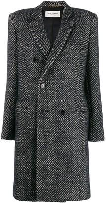 Saint Laurent Herringbone Double-Breasted Coat