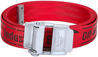 Off-White Men's Industrial Web Logo Belt, Red/Black